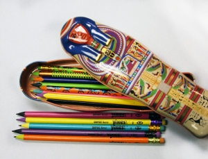 Yikes! Pencils shown here with a non-Yikes pencil case from the British Museum gift shop. Available at PencilThings.