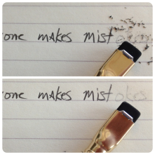 The eraser does leave dust, but it erases pretty clearly.