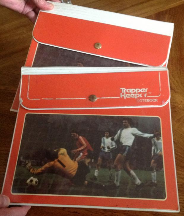 The Trapper Keeper Prototype: one with the logo and one without. Photo by E. Bryant Crutchfield and from the original article.