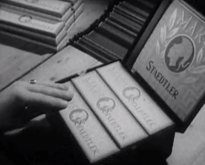 "Screencap from ""STAEDTLER pencil production in 1950 Part 2"". I love old pencil packaging. Why can't they wrap them up like this anymore?"