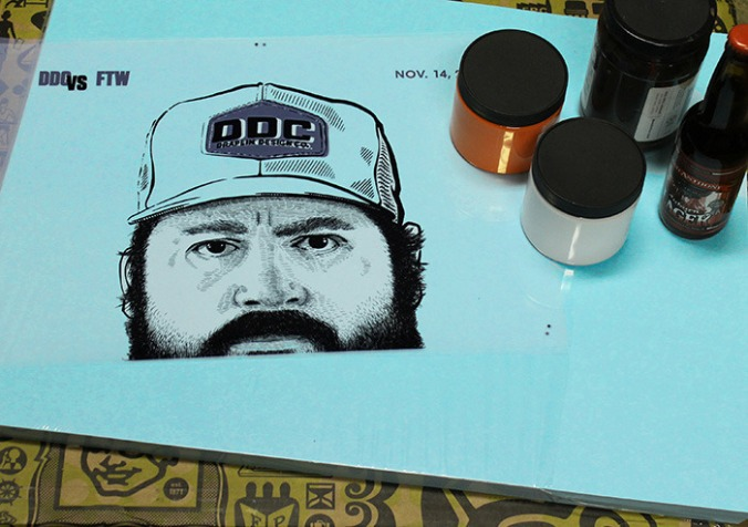 A draft of the limited edition poster of Aaron Draplin for Kickstarter backers.