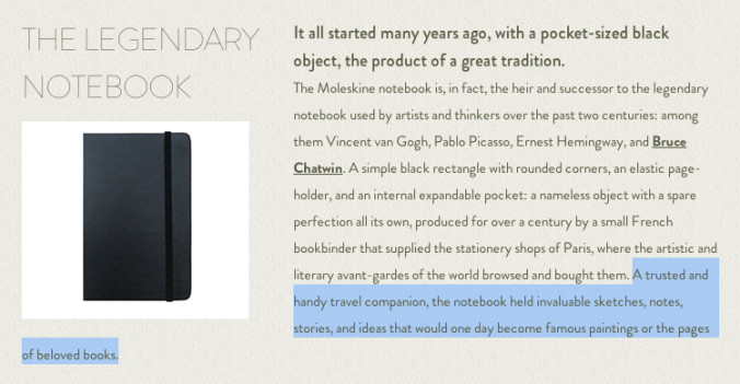 Screenshot from the Moleskine website.