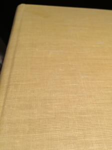 A close-up of the cloth binding on the Boorum & Pease memo book.