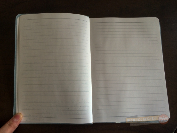 Gallery Leather Oporto Journal opposite page spread —barely any bleedthrough