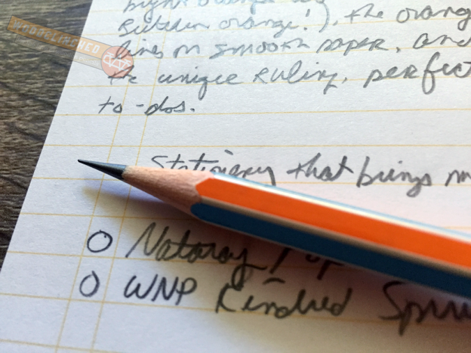 Closeup of Nataraj Pop pencil writing in a Write Notepads Kindred Spirit Edition pocket notebook