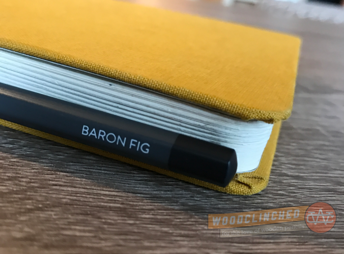 Closeup of the Baron Fig Archer barrel on the Confidant notebook